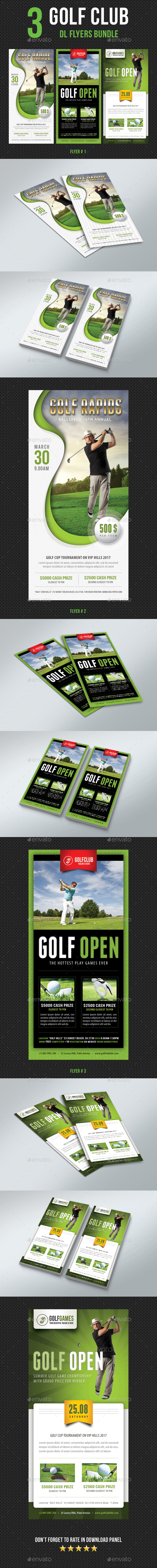 3 in 1 Golf Club DL Flyer Bundle V2 - Sports Events
