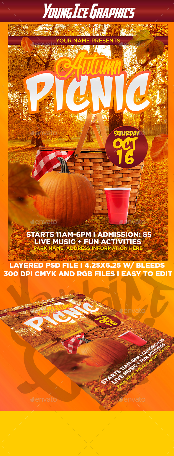 autumn picnic flyer template by youngicegfx