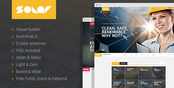 Solar – Renewable Energy Sinlge&Multipage HTML Template with Builder