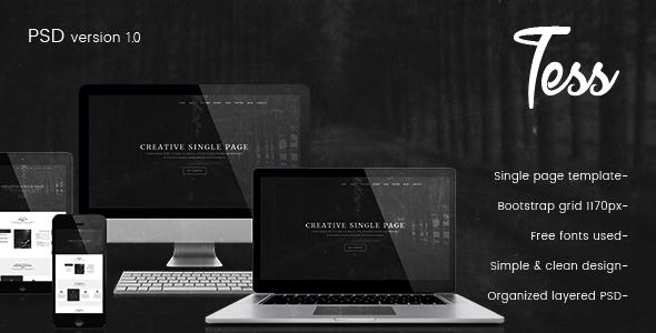 Tess - Single Page PSD Template - Creative PSD Templates