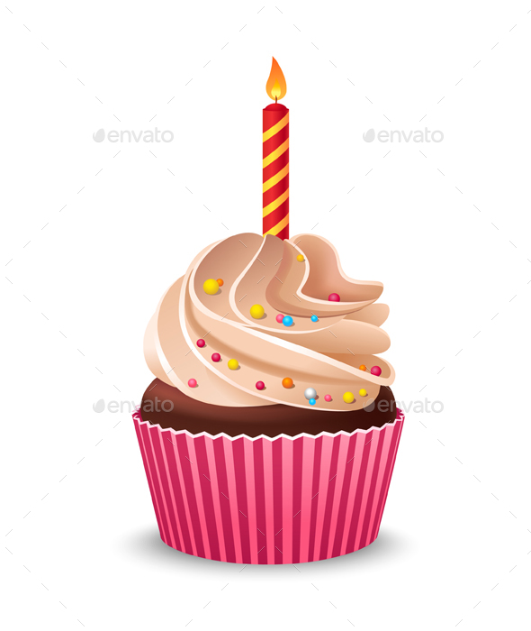 Birthday Cupcake with Burning Candle - Food Objects