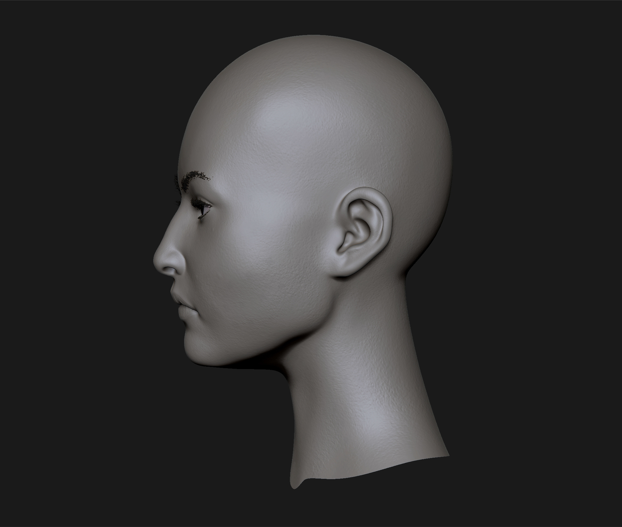 3D Asian Girl realistic head cute asian girl