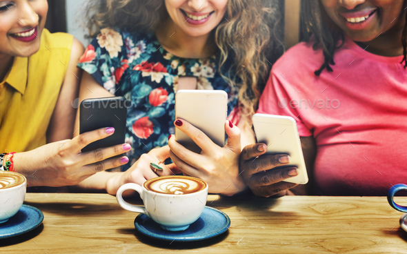 Group of Women Drinking Coffee Using Smart Phone Concept - Stock Photo - Images