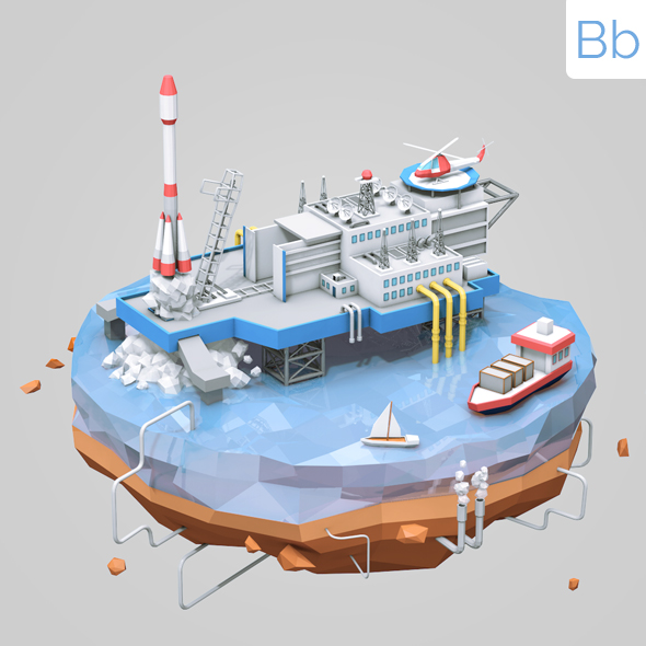 Low Poly Rocket Launch Platform - 3DOcean Item for Sale