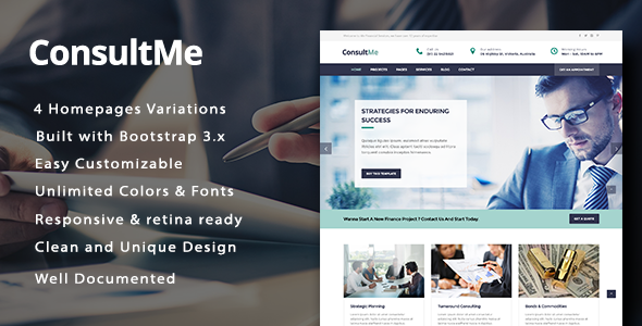 ConsultMe Responsive Business and Finance HTML5 Template
