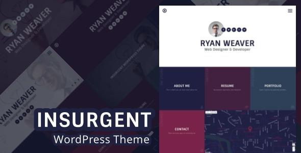 Insurgent – Personal Vcard Resume Portfolio WordPress Theme