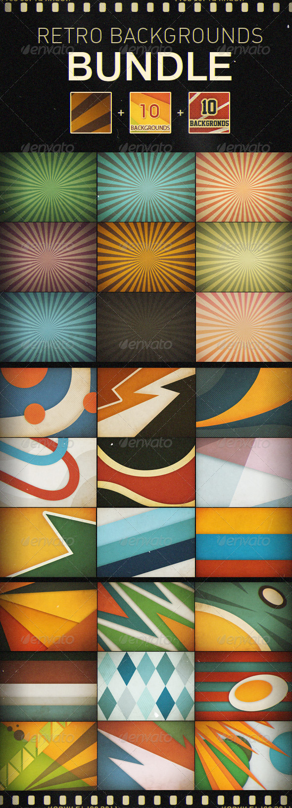 Retro Backgrounds Bundle - Backgrounds Graphics