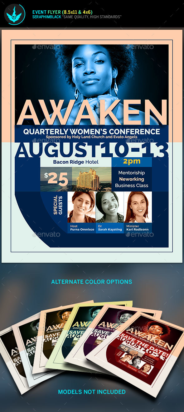 Awaken Women'S Conference Flyer Template By Seraphimblack