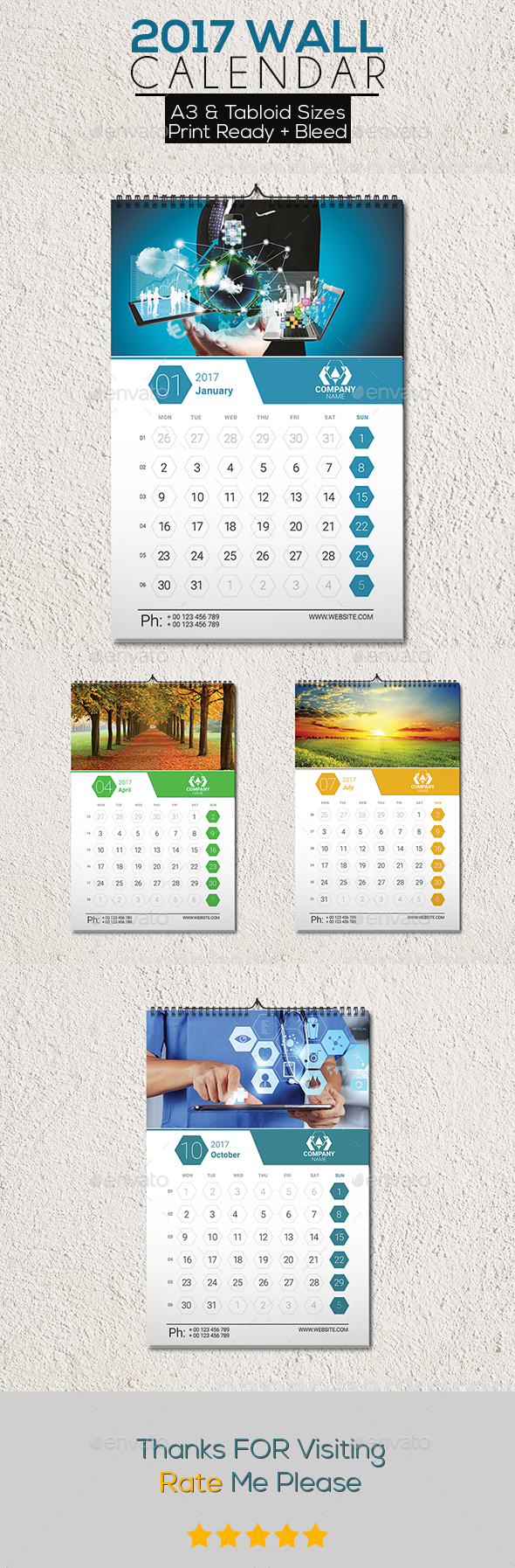 Clean 2017 Wall Calendar
