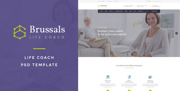 Brussals : Life Coach PSD Template