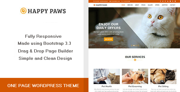 Happy Paws – One Page WordPress Theme