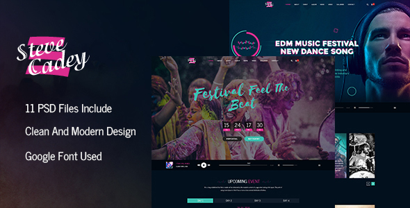 Steve Cadey – Modern & Stylish Music Event PSD Template