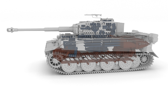 Fully built Panzer Tiger Tank Late 1944 Clay (interior and engine) - 3DOcean Item for Sale