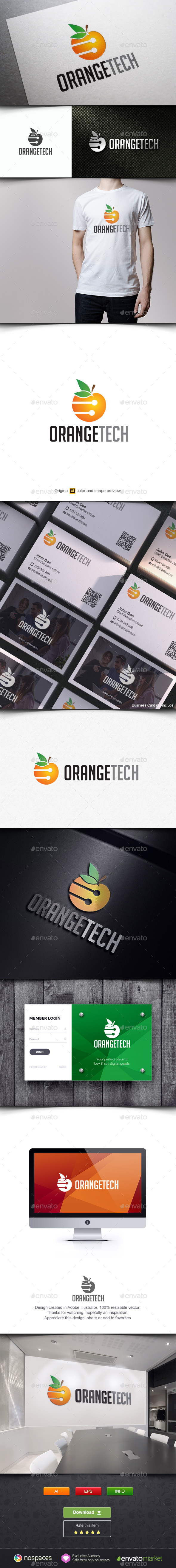 Orange Fruit Technology - Food Logo Templates