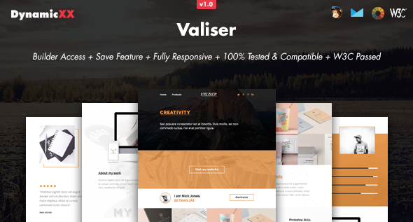 Valiser - Responsive Email + Online Template Builder - Email Templates Marketing