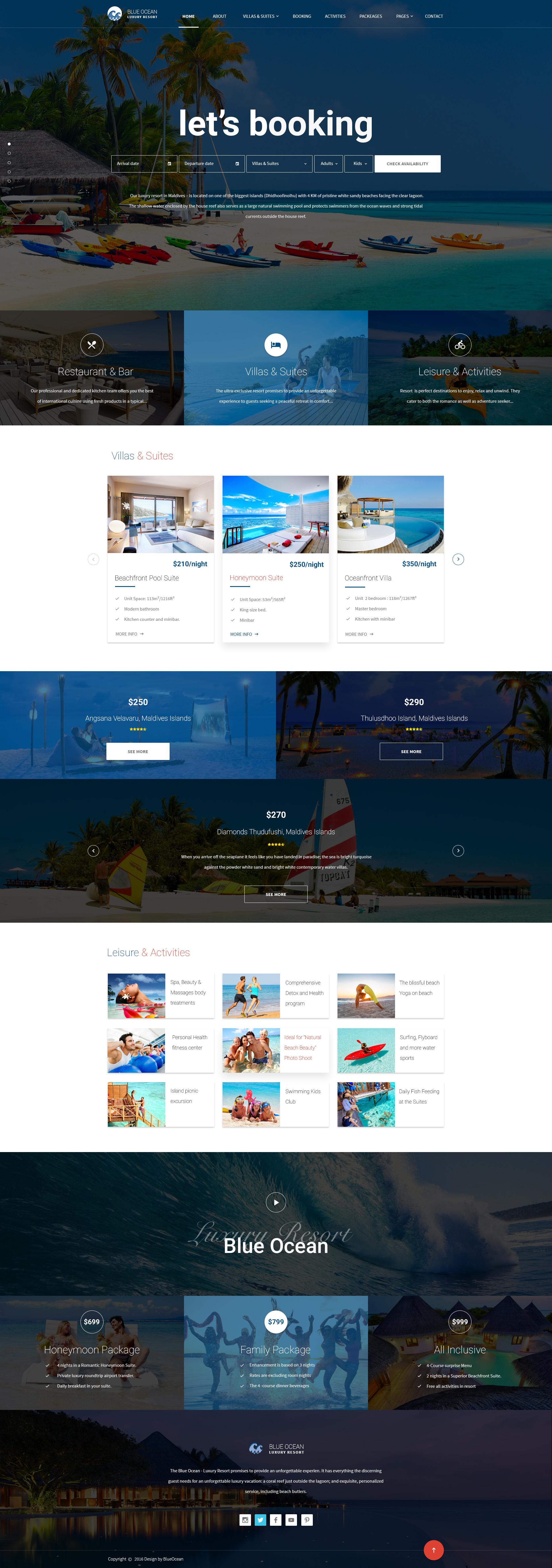 Blue Ocean Resort Hotel Html Template By Pixartthemes Themeforest