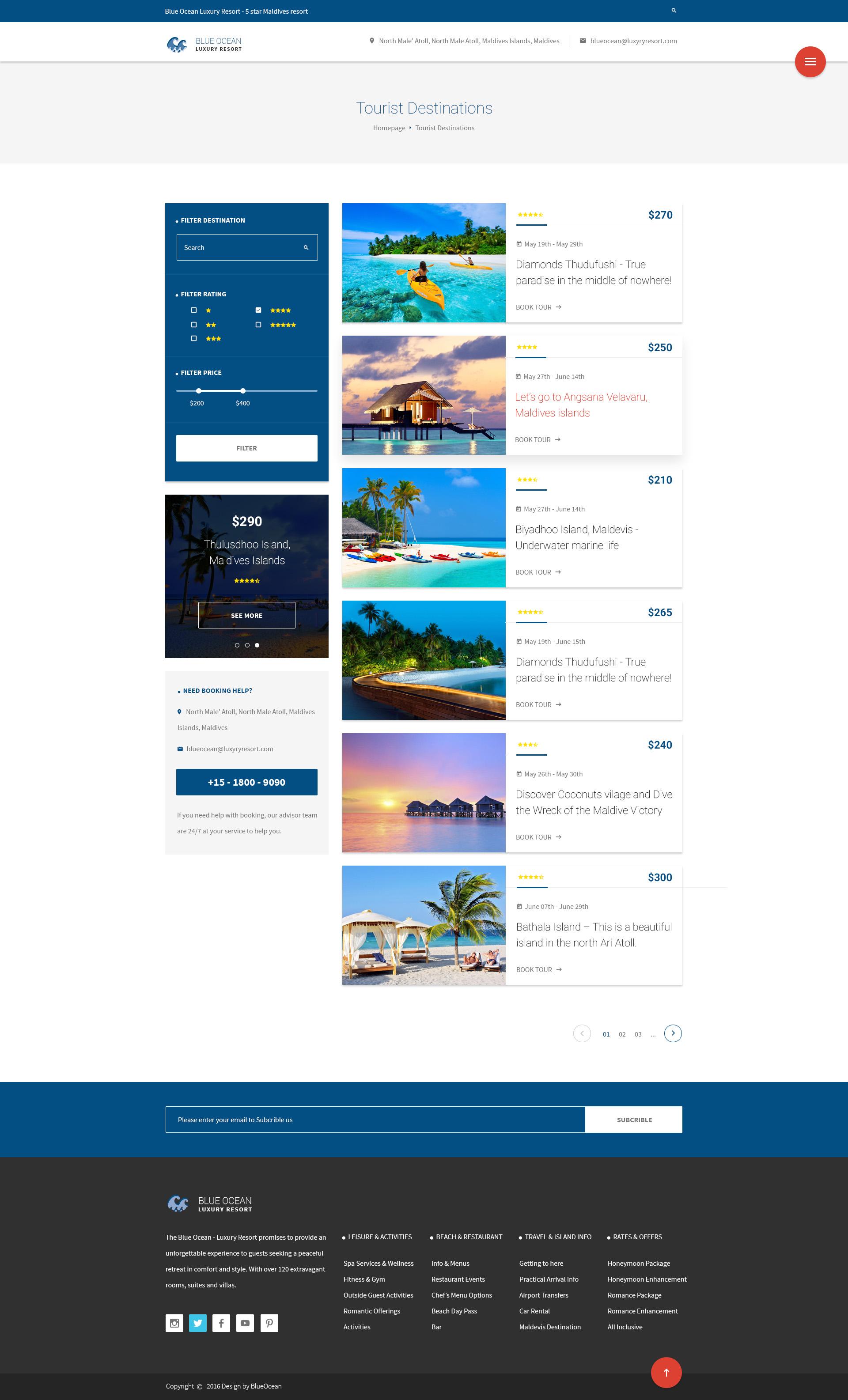 Blue Ocean - Resort & Hotel HTML Template