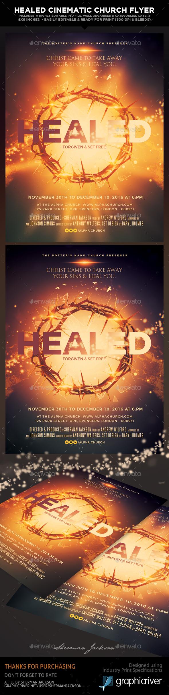 Healed Church Theme Cinematic Flyer - Church Flyers