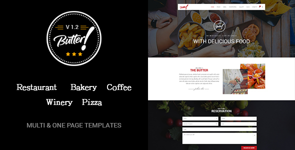 Butter – Professional Restaurant, Bakery, Coffee, Winery and Pizza WordPress Theme