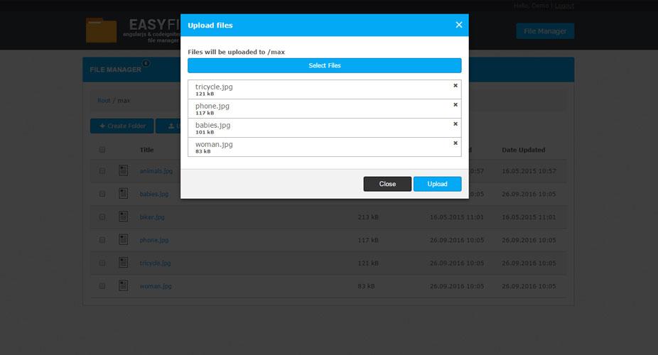 EasyFile - AngularJS & CodeIgniter File Manager