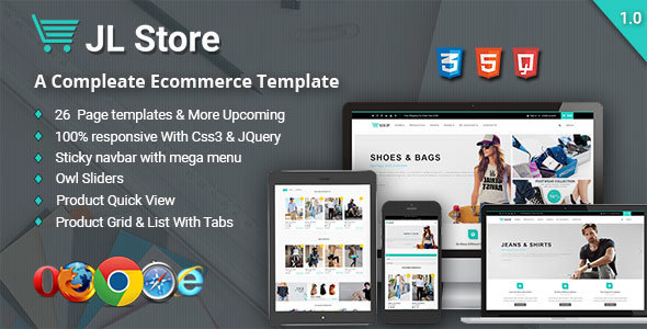 JL Store Multipurpose Responsive eCommerce HTML5 Template - Retail Site Templates