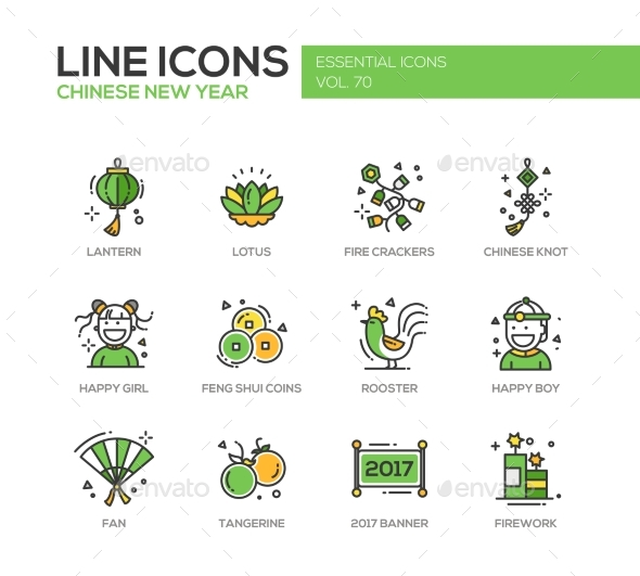 Chinese New Year - Line Design Icons Set - New Year Seasons/Holidays