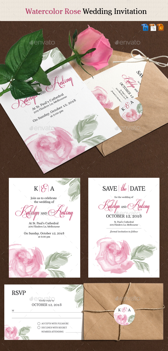 Rose Wedding Invitation - Weddings Cards & Invites