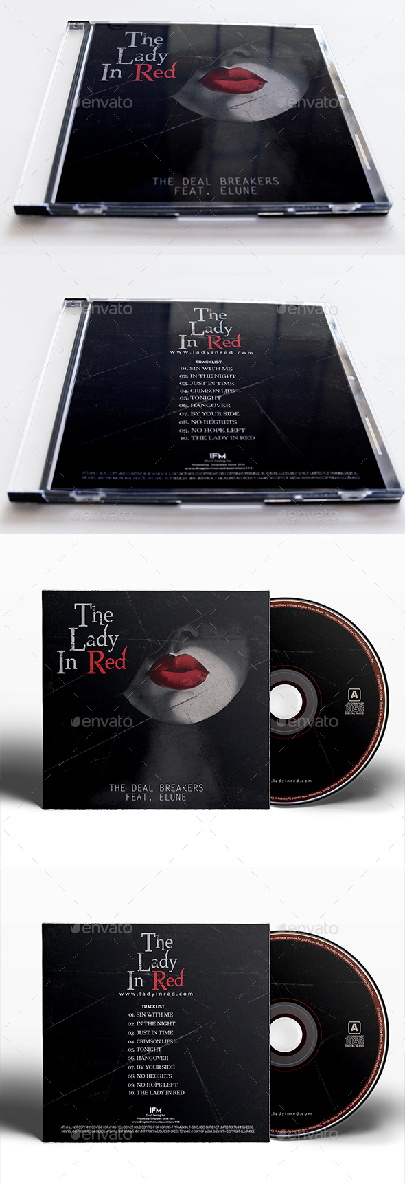 Lady In Red Album Cover Template - CD & DVD Artwork Print Templates