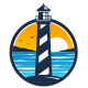 Lighthouse Beach View Logo - GraphicRiver Item for Sale