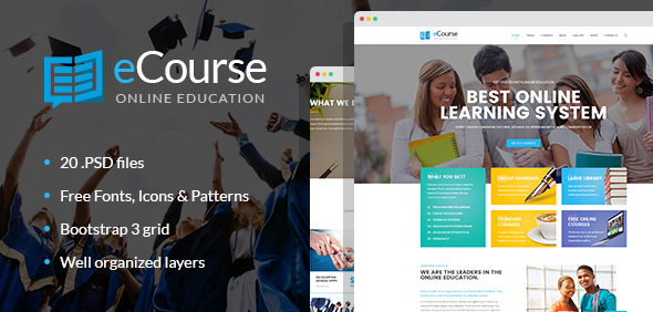 eCourse – Learning Management System, Online LMS PSD template