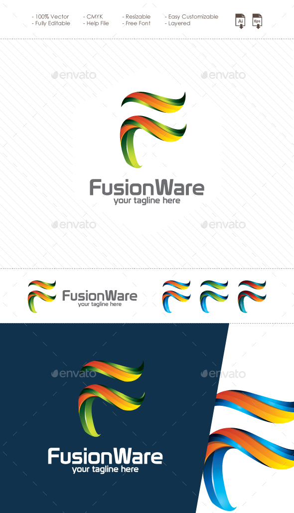 Fusion Ware - 3D Letter F Logo - Letters Logo Templates