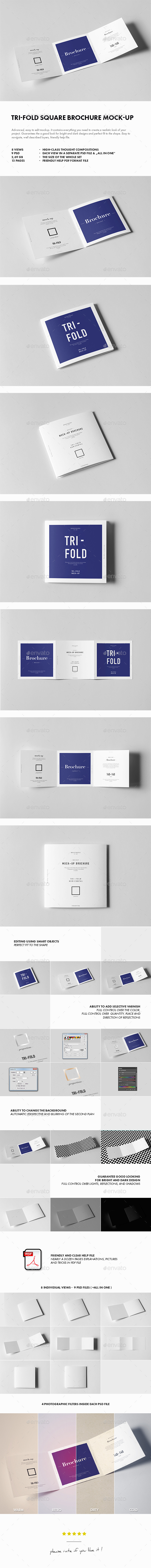 Tri-Fold Square Brochure Mock-up - Brochures Print
