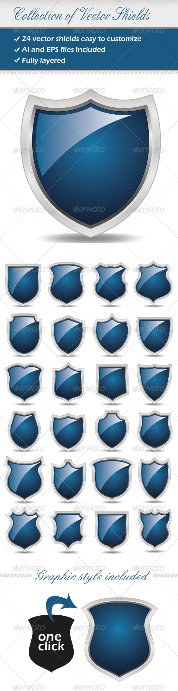 Collection Of Vector Shields - Decorative Vectors
