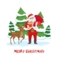 Santa Claus and Reindeer Christmas Tree - GraphicRiver Item for Sale