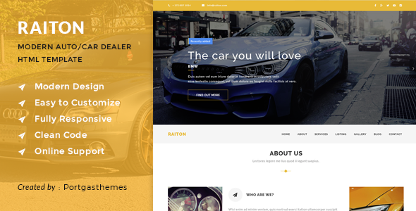 Raiton - Car Shop & Car Dealer HTML Template