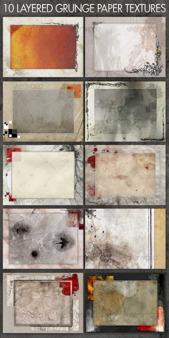 10 Layered Grunge Paper Textures/Background/Frames - Backgrounds Graphics
