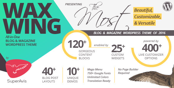 Waxwing – All-in-One Blog and Magazine WordPress Theme