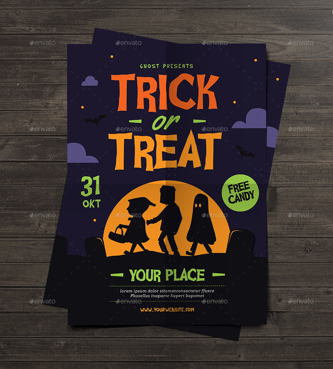 trick or treat halloween kids flyer by guuver