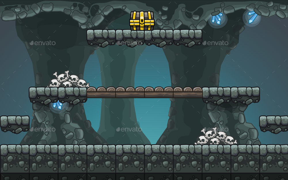 Cartoon Cave Platformer Tileset by uvector | GraphicRiver