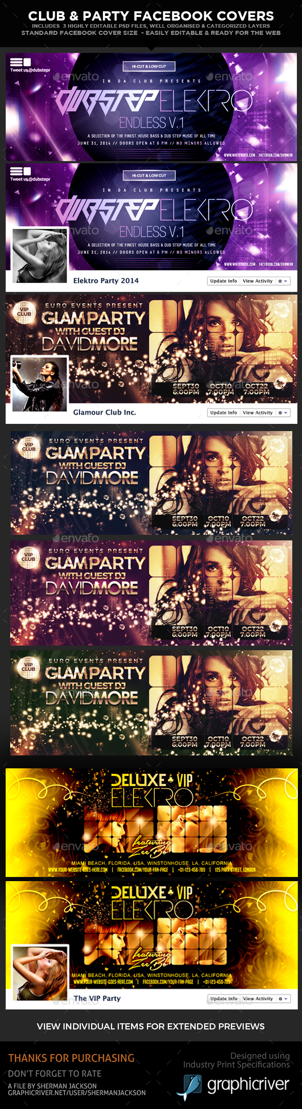 Club & Party Facebook Timeline Covers (3 in 1) - Facebook Timeline Covers Social Media