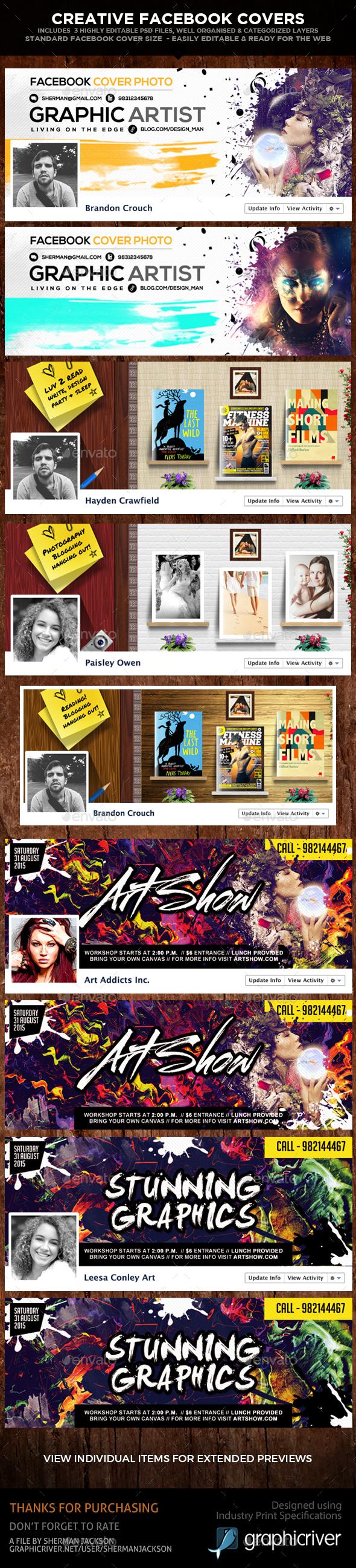 Creative Facebook Cover Photos (3 in 1) - Facebook Timeline Covers Social Media