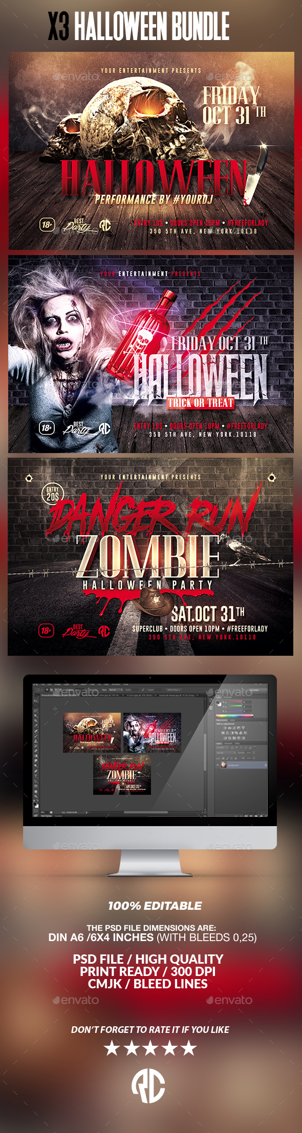 Halloween Bundle | x3 Flyer Templates