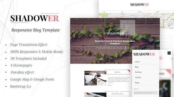 Shadower - HTML5 Responsive Blog Template