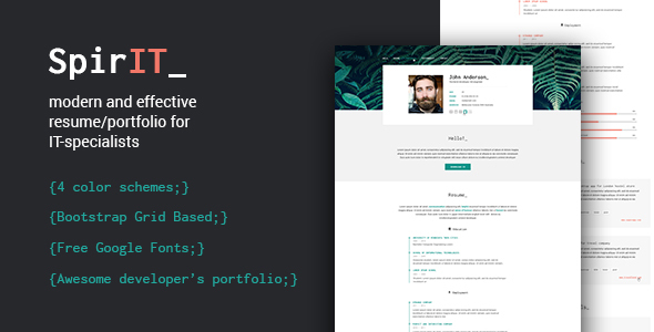 SpirIT – Portfolio&Resume HTML Template for Developers, Programmers and Freelancers.