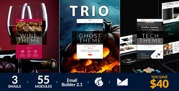 Trio Email Template + Online Emailbuilder 2.1 - Newsletters Email Templates
