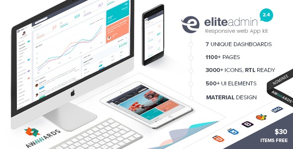 Elite Admin – The Ultimate Dashboard Web App Kit + Material Design + PHP