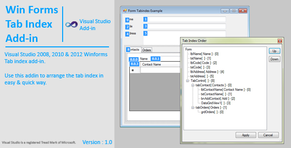 WinForms Tab Index AddIn - CodeCanyon Item for Sale