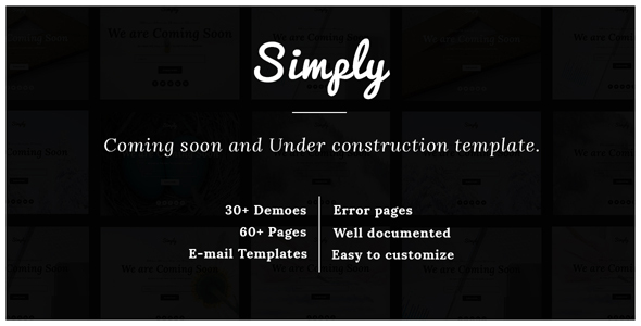 Simply | Responsive Coming Soon and Under Construction Template