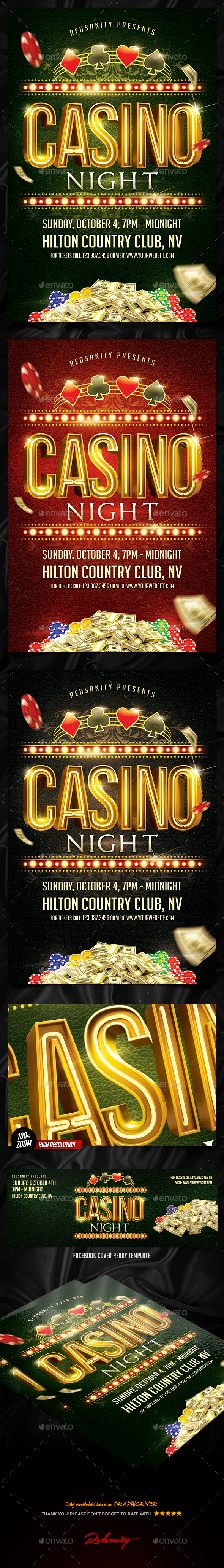 Casino Night Flyer Plus FB Cover