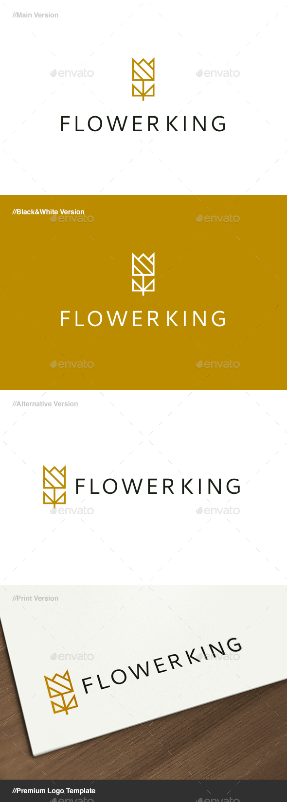 Flower King Logo - Nature Logo Templates
